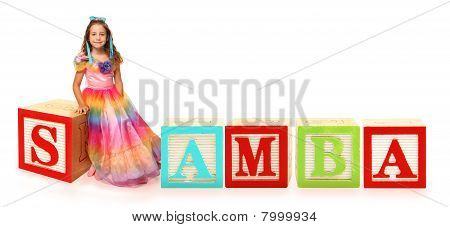 Colorful alphabet blocks spelling the word SAMBA poster