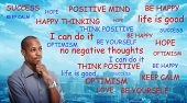 Positive thinking African-American businessman. Relaxation and meditation. poster