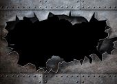 hole in metal armor steam punk background poster