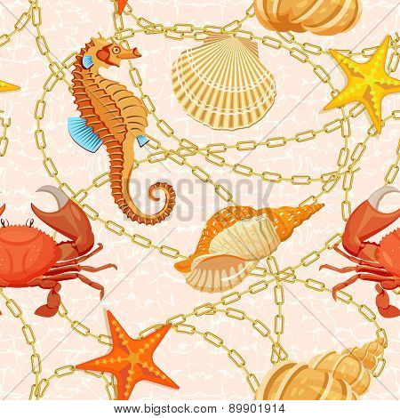 Ocean background. Tropical sea life design.