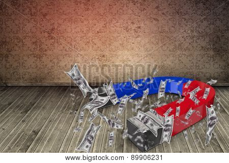 Composite image of magnet attracting dollars against grimy room
