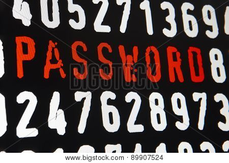Computer Screen With Password Text And Numbers On Black Background