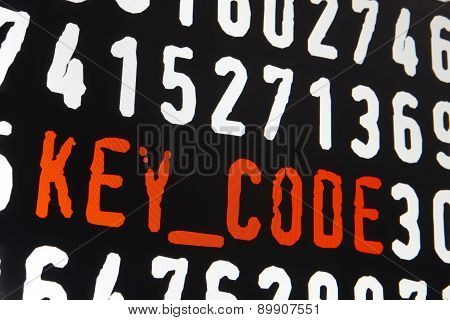 Computer Screen With Key Code Text On Black Background