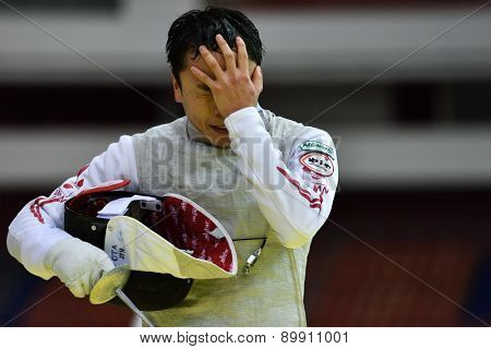 ST. PETERSBURG, RUSSIA - MAY 2, 2015: Yuki Ota of Japan after the 1/8 final of 41th International fencing tournament St. Petersburg Foil. The tournament is the stage of FIE World Cup