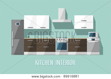 Kitchen interior. Kitchen furniture. Modern trendy design.