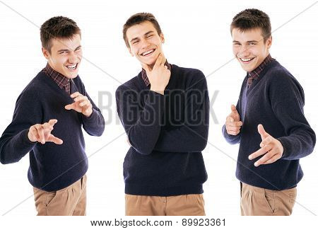 Three Portraits Handsome Exspressive Boy