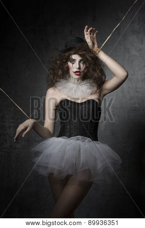 Girl With Gothic Puppet Costume
