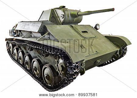 Soviet light infantry tank T-70. 1942 isolated poster