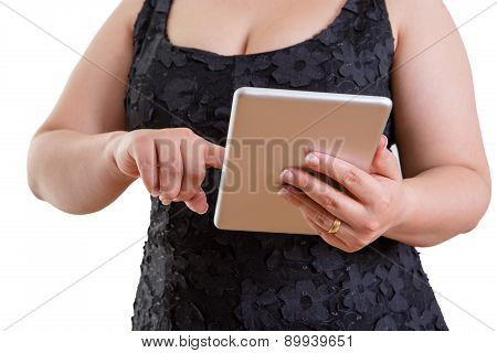 Buxom Woman Browsing On A Tablet-pc