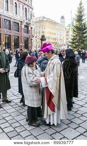 Bishop Franz Scharl Greets An Elderly Lady