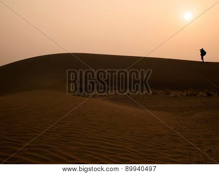 Silhouette Photographer At Thar Desert In Sunset Time, Jaisalmer, Rajasthan State, India