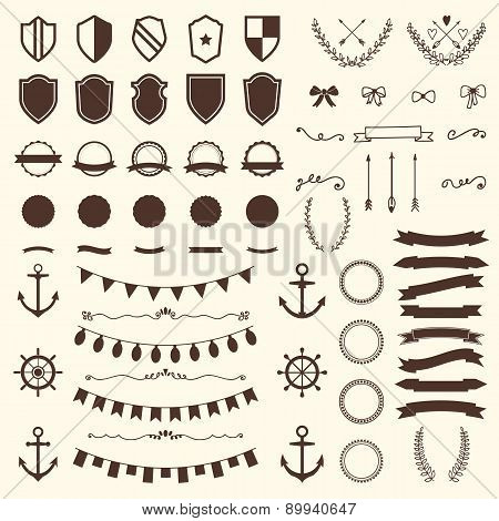 Collection Of Shields, Badges And Labels. Vector Design Elements. Vintage Hipster Labels, Arrows, Bo