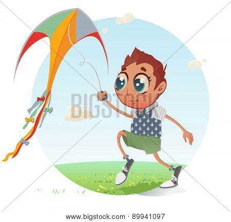 Boy flies his Kite