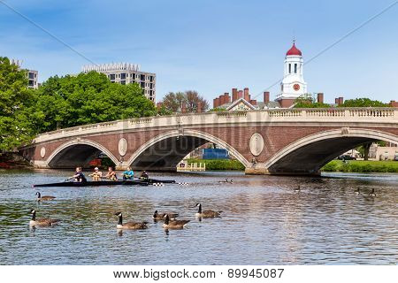 A Harvard's Crimson Lightweight Crew Practicing For A Race In The Charles River