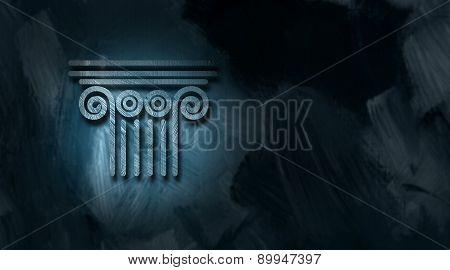 Architectural column icon against textured background