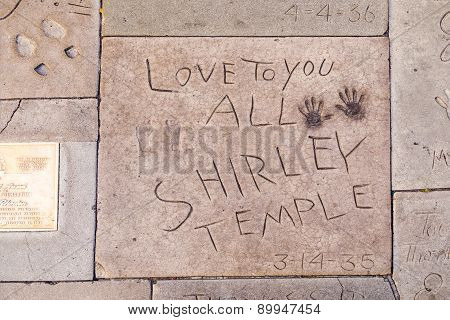 Handprints  Of Shirley Temple In Hollywood Boulevard In The Concrete Of Chinese Theatre's Forecourt