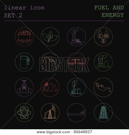 Outline icon set Fuel and energyl. Flat linear design