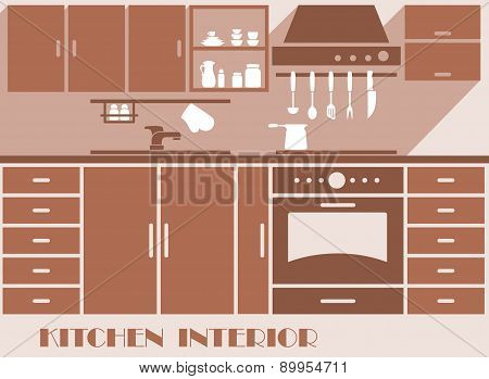Kitchen interior flat design in brown colors
