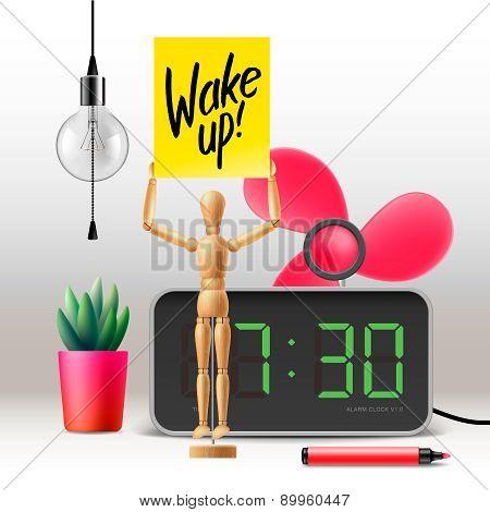 Wake up. Workspace mock up with digital alarm clock, vector illustration. poster