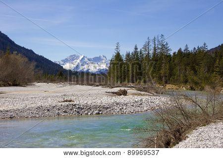 River Isar And Karwendel Mountains