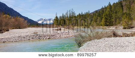 Panoramic Scenery - Source Of River Isar, Riverbed In The Wilderness