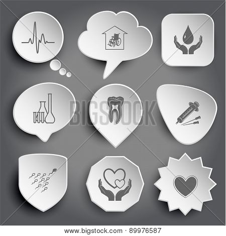 cardiogram, nursing home, protection blood, chemical test tubes, tooth, syringe, spermatozoon, love in hands, heart. White raster buttons on gray.