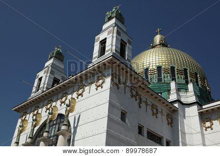 Kirche am Steinhof (1907) designed by Austrian architect Otto Wagner in Vienna, Austria.  poster