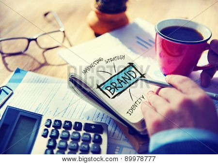 Digital Online Marketing Brand Office Working Concept