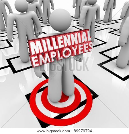 Millennial Employees words on a worker or staff member on an organizational chart to illustrate finding and hiring young people