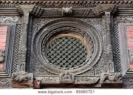 Carved Wooden Window Details On The Royal Palace Of Kathmandu, Now Destroyed By The Earthquake