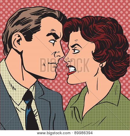 Conflict man woman family quarrel love hate pop art comics retro