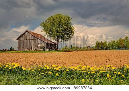 barn surrounded by fields