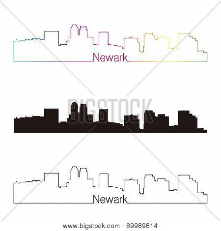 Newark Skyline Linear Style With Rainbow