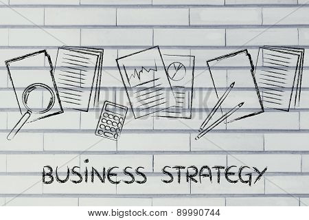 Business Strategy: Folders With Documents, Stats And Budget