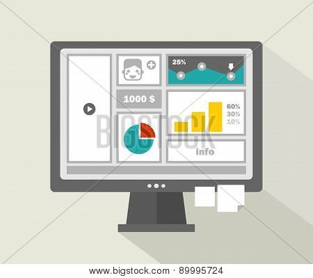 Business website menu with boys face on computer.