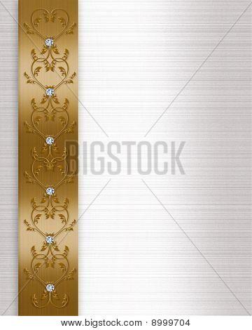 Wedding invitation border gold