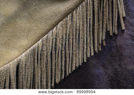 Old West Buckskin Leather Fringe Detail