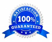 Vector badge and label satisfaction guaranteed colored in blue with text 100 percent ribbon and stars for marketing and business promo EPS 10 illustration isolated on white background. poster