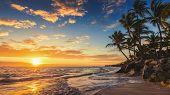 Landscape of paradise tropical island beach sunrise shot poster