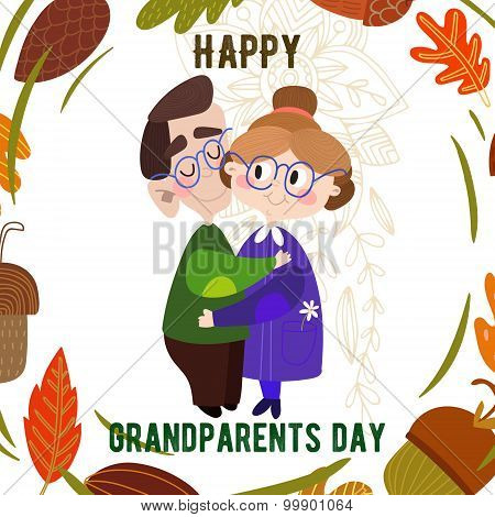 Lovely Card- Happy Grandparents Day. Vector Illustration In Cartoon Style-stock Vector