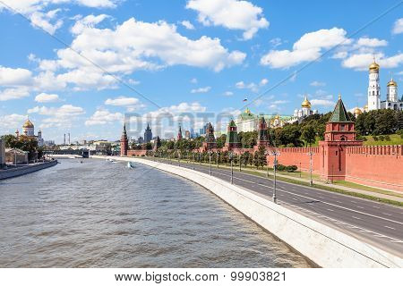 Moscow skyline - Kremlin embankment along Moskva River and Kremlin Cathedrals in Moscow in sunny smmer day poster