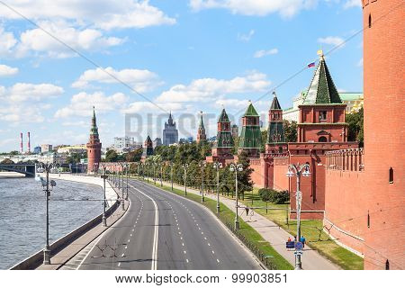 Moscow cityscape - The Kremlin Embankment of Moskva River Kremlin Walls and Towers in Moscow Russia in summer day poster