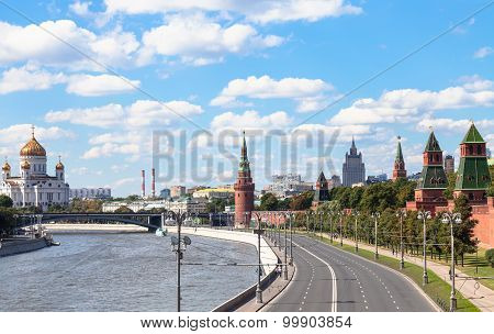 Moscow skyline - The Kremlin Embankment of Moskva River Greater Stone Bridge Kremlin Walls and Towers Cathedral of Christ the Saviour in Moscow Russia in summer day poster