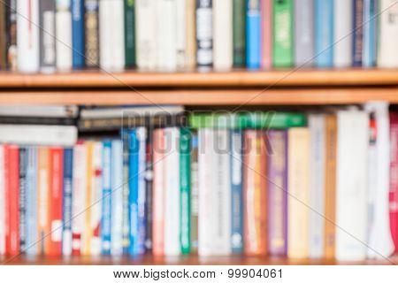 Defocused Background From Books On Bookshelf