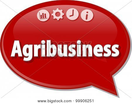 Speech bubble dialog illustration of business term saying Agribusiness