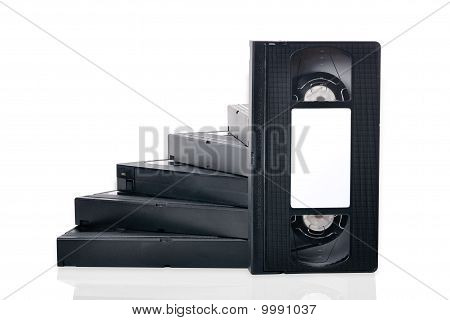 Step Of The Videotapes On A White Background