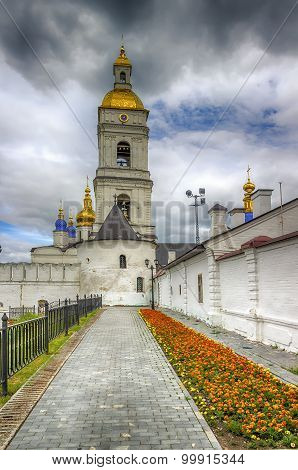 Tobolsk Kremlin And Belfry Sophia-assumption Cathedral Panorama Menacing Sky