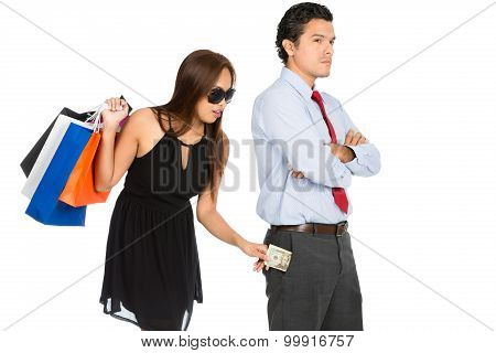 Shopping Woman Removing Money Standing Husband H