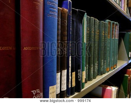 Close-Up Of Shelf Of Library Books