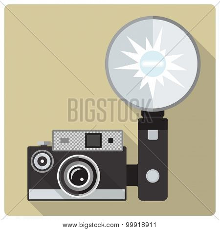 Vintage compact camera with flash vector icon. Flat design retro vector illustration of camera with strobe